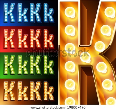 Ultimate realistic lamp board alphabet. Condensed style. Left and right options. Multicolored. Letter k - stock vector