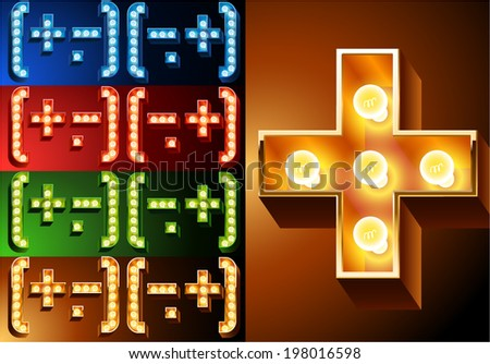 Ultimate realistic lamp board alphabet. Condensed style. Left and right options. Multicolored. Symbols 1 - stock vector