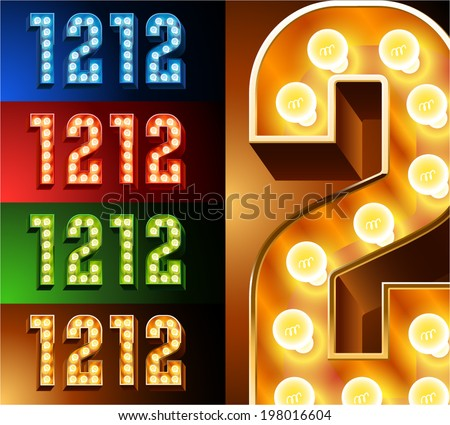 Ultimate realistic lamp board alphabet. Condensed style. Left and right options. Multicolored. Numbers 1 - 2 - stock vector