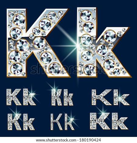 Ultimate vector alphabet of diamonds and platinum ingot. Six options. Letter k - stock vector