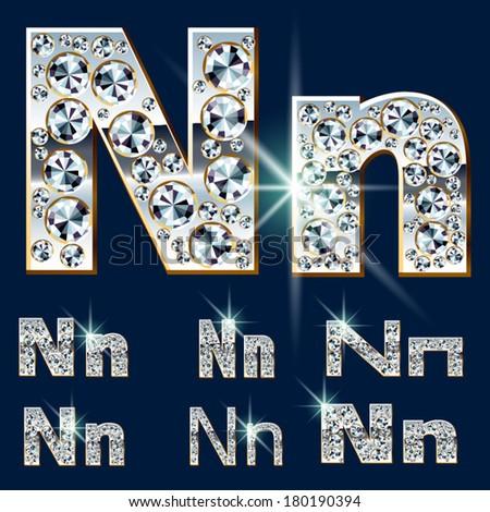 Ultimate vector alphabet of diamonds and platinum ingot. Six options. Letter n - stock vector
