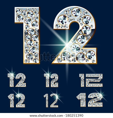Ultimate vector alphabet of diamonds and platinum ingot. Six options. Numbers 1 2 - stock vector