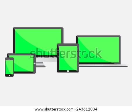 Ultimate web design electronic black devices set with empty green screen isolated on white background. Vector illustration EPS10 - stock vector