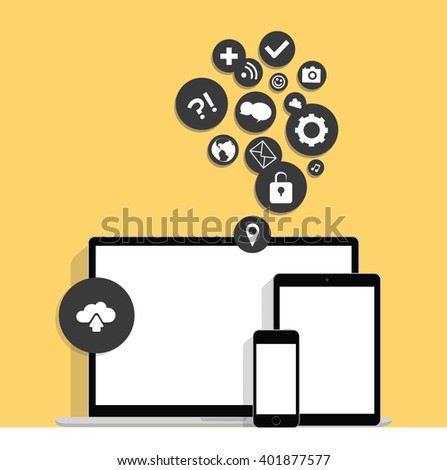 Ultimate web design electronic devices, concept of internet communications