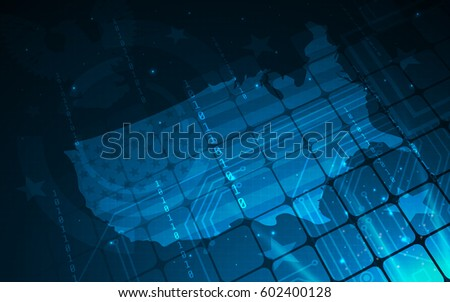 Ultra Hd Blue Abstract Sci Fi Stock Vector Shutterstock - Map of us hd