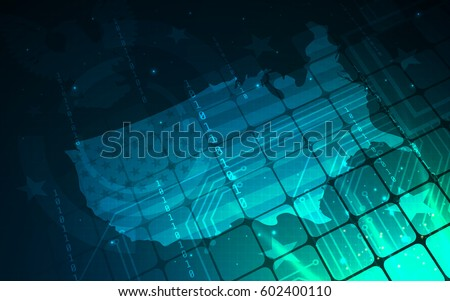 Ultra Hd Blue Abstract Sci Fi Stock Vector Shutterstock - Hd us map background