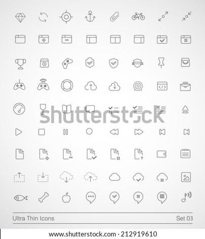 Ultra thin icons. Simple line icons on white background. Thin Icons Set 03. - stock vector