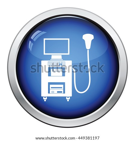 Ultrasound diagnostic machine icon. Glossy button design. Vector illustration.