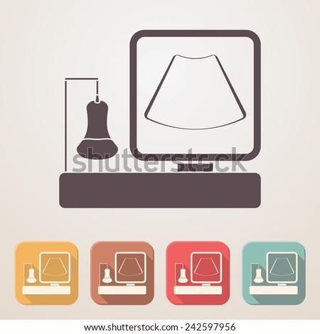 Ultrasound Machine Flat Icon Set Color Stock Vector 242597956