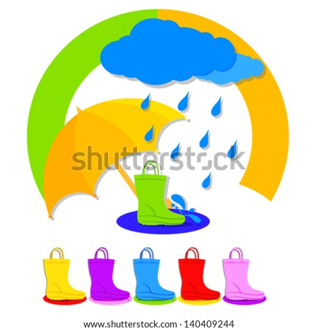 umbrella and boots - stock vector