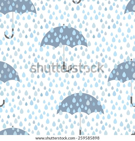 Umbrella and rain doodles hand drawn seamless pattern  caption - stock vector
