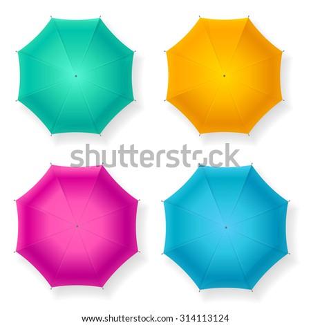 Umbrella Colorful Set. Top View. Vector illustration - stock vector