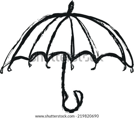 umbrella doodle charcoal - stock vector