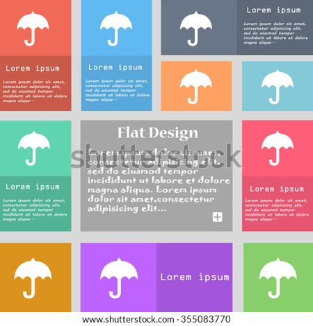 umbrella icon sign. Set of multicolored buttons with space for text. Vector illustration - stock vector