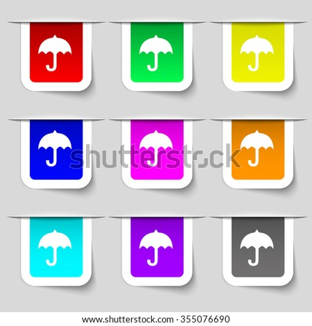 umbrella icon sign. Set of multicolored modern labels for your design. Vector illustration - stock vector