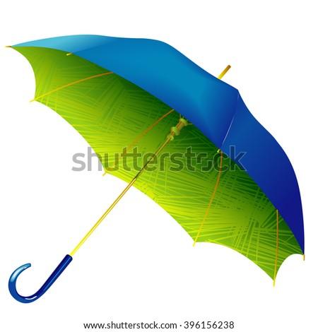 umbrella in green printed inner surface - stock vector