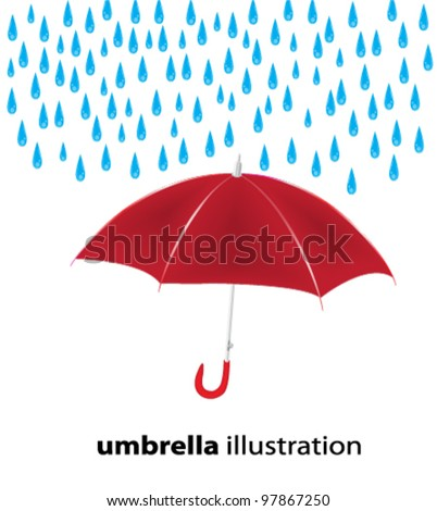 umbrella in the rain - stock vector