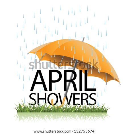 Umbrella in the rain. EPS 8 vector, grouped for easy editing. No open shapes or paths. - stock vector
