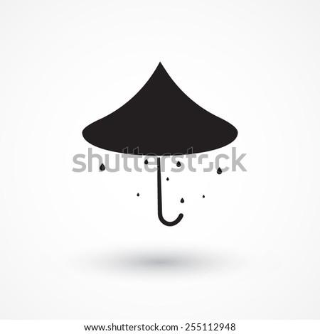 Umbrella isolated icon symbol. Raindrops - stock vector