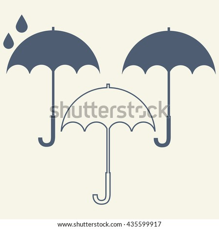 Umbrella isolated on white background vector icon.