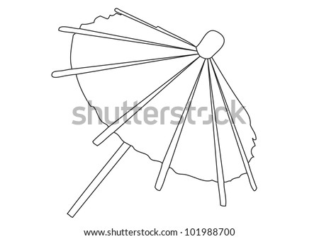 umbrella on white background. contour vector illustration - stock vector