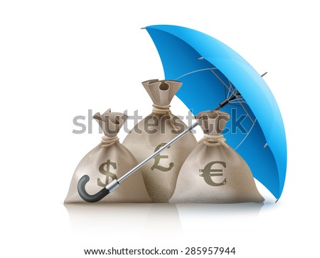 Umbrella protecting sacks with money currencies dollar euro and pound. Eps10 vector illustration. Isolated on white background - stock vector