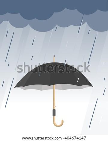 umbrella protects from the rain in flat design