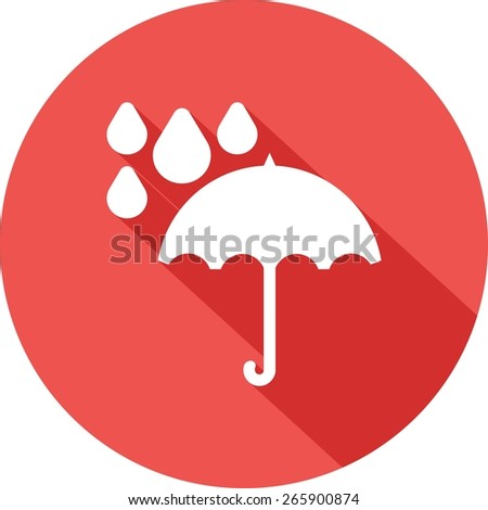 Umbrella, rain, rainy, drops icon vector image. Can also be used for weather, forecast, season, climate, meteorology. Suitable for web apps, mobile apps and print media. - stock vector