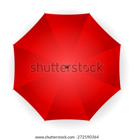 umbrella red on a white background. Vector illustration. - stock vector