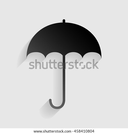 Umbrella sign icon. Rain protection symbol. Flat design style. Black paper with shadow on gray background. - stock vector