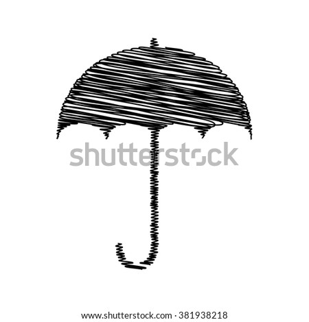 Umbrella sign icon. Rain protection symbol. Flat design style with scribble effect - stock vector