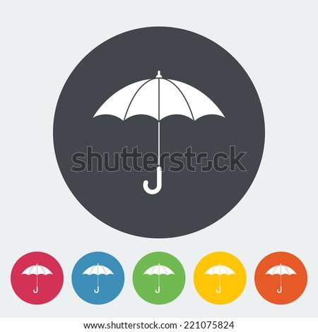 Umbrella. Single flat icon on the circle. Vector illustration. - stock vector