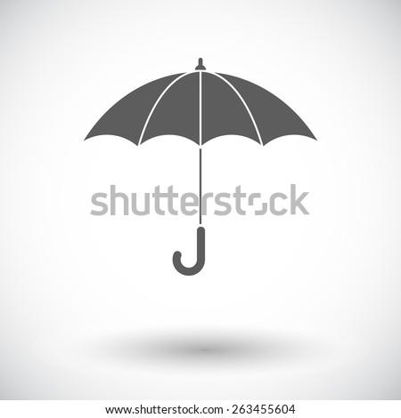Umbrella. Single flat icon on white background. Vector illustration. - stock vector