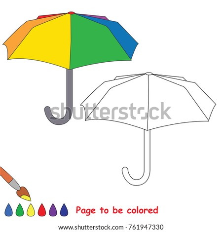 Umbrella To Be Colored The Coloring Book For Preschool Kids With Easy Educational Gaming Level