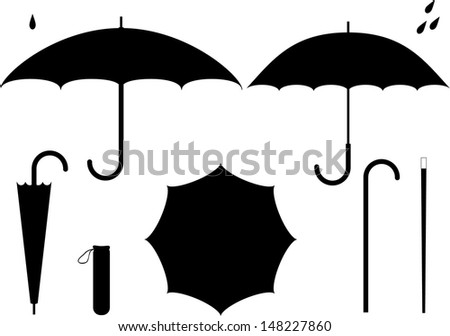 Umbrella, trout, drops. Vector illustration - stock vector