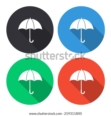 umbrella vector icon - colored(gray, blue, green, red) round buttons with long shadow - stock vector