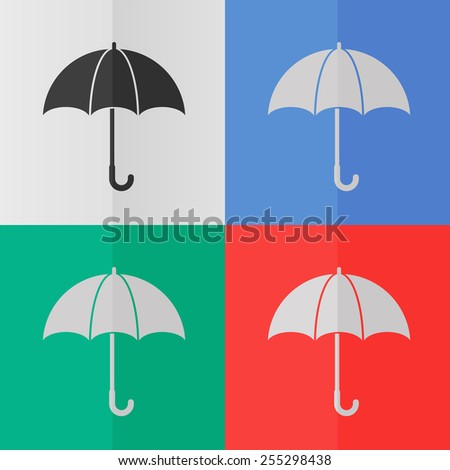 Umbrella vector icon. Effect of folded paper. Colored (red, blue, green) illustrations. Flat design - stock vector