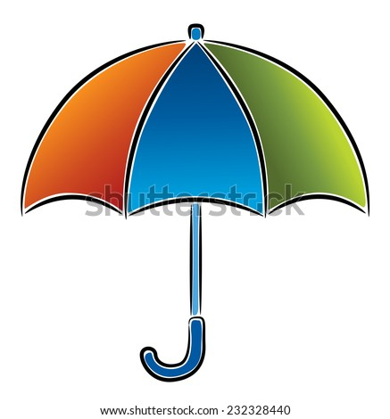 Umbrella, vector icon, illustration on white background - stock vector