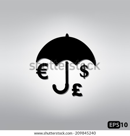 Umbrella with currency icons
