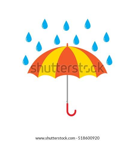 Rain drops with umbrella clip art
