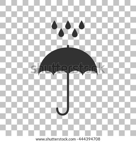 Umbrella with water drops. Rain protection symbol. Flat design style. Dark gray icon on transparent background. - stock vector