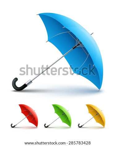 Umbrellas color set. Eps10 vector illustration. Isolated on white background - stock vector