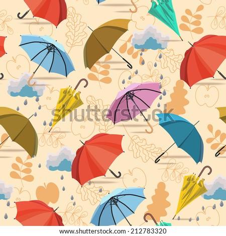 Umbrellas. Seamless pattern. Vector autumn doodles design.  Season of the rain. - stock vector