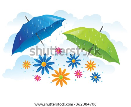 Umbrellas with flowers and spring rain - stock vector