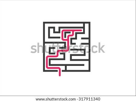 Unable to overcome business challenges and obstacles. Vector illustration of maze / labyrinth as a concept for not solving a problem and dead end. - stock vector