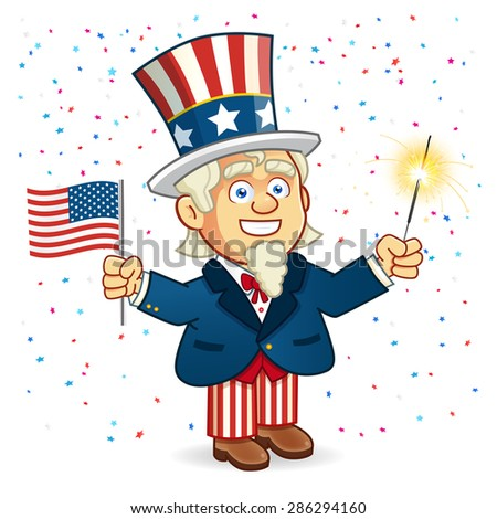Uncle Sam American Parade - stock vector