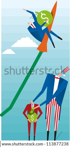 Uncle Sam and a small man holding a bag of money watch a businessman ride a rocket up into the sky - stock vector