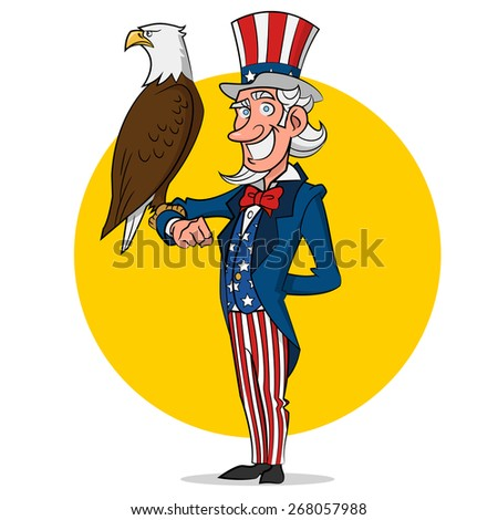 Uncle Sam and eagle. Vector illustration. - stock vector