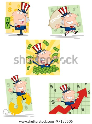 Uncle Sam Cartoon Characters. Vector Collection.Jpeg version also available in gallery. - stock vector