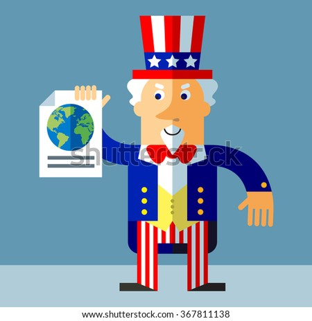 Uncle Sam engaged in a global search. Flat style vector illustration on gray background.  Common national personification of the American government. Symbol of USA